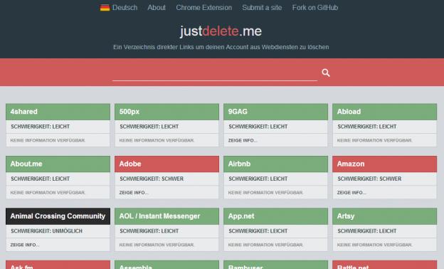 Webseite von JustDelete.Me